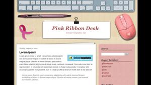 Pink Ribbon Desk (2 Columns) Blogger Template | Online Reviewz